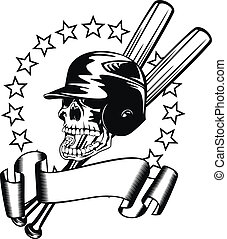 skull in baseball helmet - Vector illustration skull in...