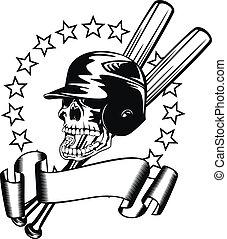 skull in baseball helmet - Vector illustration skull in...