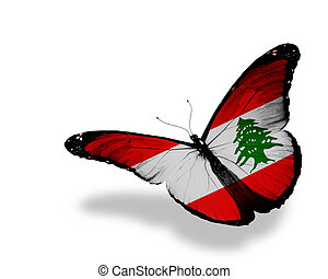 Lebanese flag butterfly flying, isolated on white background