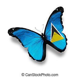 Flag of Saint Lucia butterfly, isolated on white