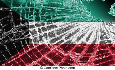 Broken glass or ice with a flag, Kuwait - Isolated broken...
