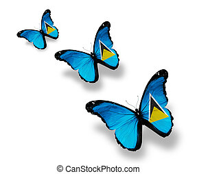 Three Saint Lucia flag butterflies, isolated on white
