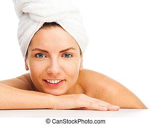 Bath beauty close-up portrait