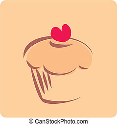 Sweet retro vector cupcake silhouette with red heart on top...