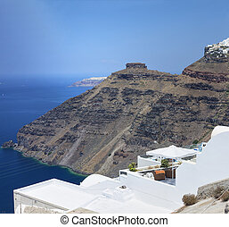 Santorini view - View of the caldera and Skaros. Santorini,...