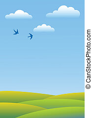 Spring day. - Swallows fly in clouds over green fields.