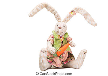 easter bunny with carrot on isolated white - toy easter...