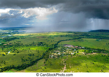 Storm over Gracemere - Rainstorm over Rockhampton, Central...