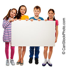 Four kids showing board with advertising - Group of school...