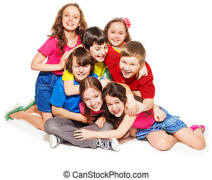Big lump of laughing kids - Group of happy kids - boys and...
