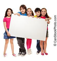 Grupo, schoolchildren, segurando, branca, tábua