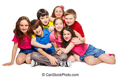 Group laugh is a lot of fun - Group of 10 years old kids...