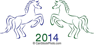 Two vector horses 2014