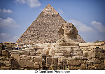 Pyramids and sphinx in Egypt - Image of the Sphinx monument...