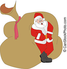 Santa Klaus has a rest - Illustration cheerful Santa Klaus...