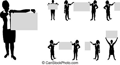 business people set holding up boards