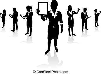 business people set - business people holding tablet screens