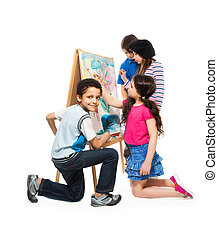 Creative boys and girls - Group of four diverse happy kids,...