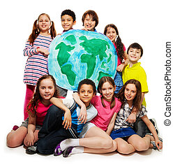 Kid's world - Large group of diversity looking teen kids,...