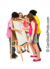 Five kids painting - Group of four diversity looking kids,...