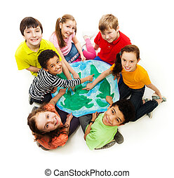 Kids from all over the world - Large group of diversity...