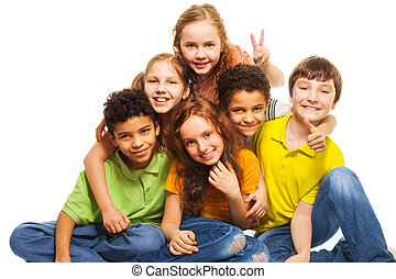 Group of happy kids - Group of happy, 10 years old boys and...