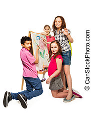 Super creative kids - Group of four kids, boys and girls...