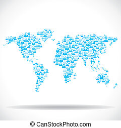 group of people world map stock vector