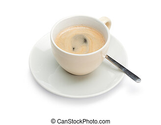 Coffee Cup with Spoon - White cup with freshly brewed...