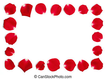 Red Rose Petals Frame - Set of multiple petals from a red...