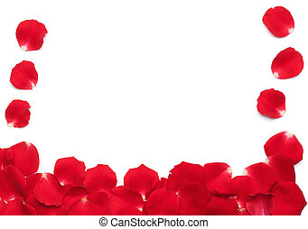 Red Rose Petals Border - Set of multiple petals from a red...