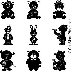 Cartoon animals, silhouette - Cartoon animals with toys and...