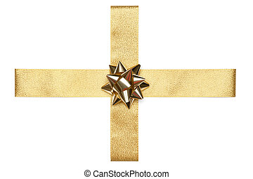 Golden Ribbon Tie - Golden Tie from present ribbon Isolated...