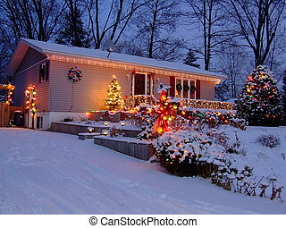 christmas lights - house at nite in winter with christmas...