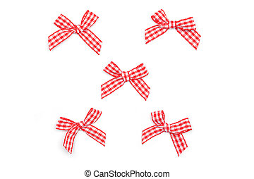 Checkered Ribbon Ties - Set of Red White Ties from ribbon in...