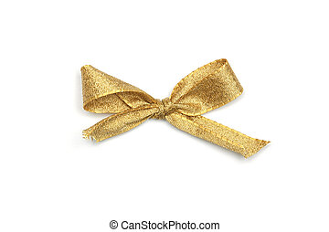 Golden Ribbon Tie - Golden Tie from present ribbon. Isolated...