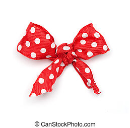Polka Dot Ribbon Tie - Red Tie with white polka dots...