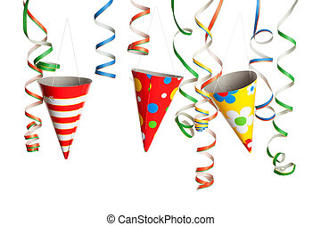 Party - Streamers and Hats - Bunch of party streamers and...