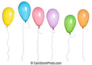 Party - Balloons in a Row - Row of party balloons hanging in...