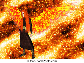 Angel of the flame - An angel of the flame and orange...