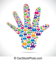 openhand with group of people stock vector