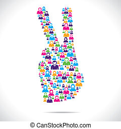 victory sign design group of people