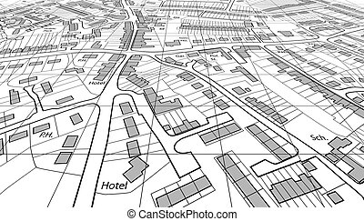 Angled map - Angled view of a housing map of a generic town