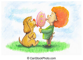 Dog and boy eating ice cream - A puppy and a boy licking an...