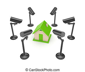 Observation cameras around 3d small house.Isolated on white...