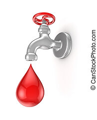 Iron tap and red drop.Isolated on white background.3d...