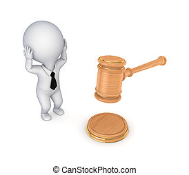 Stressed 3d small person and lawyer's hammer.Isolated on...