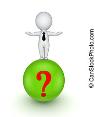 3d person standing on a ball with a query mark. - 3d small...