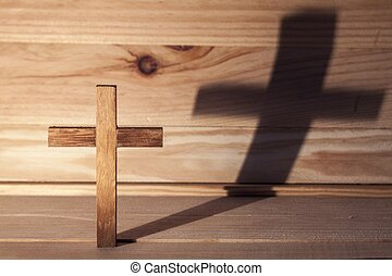 Cross over  wood table with shadow