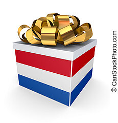 Giftbox with dutch flag.Isolated on white background.3d...